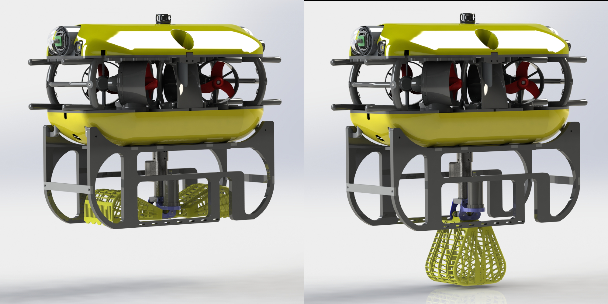 Render of the tortuga ROV with the gripper